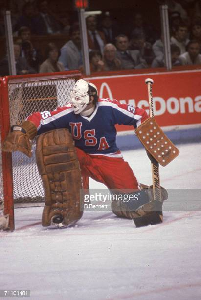 Canadian professional hockey player Tony Esposito goalie for the Chicago Blackhawks kneels as he defends the goal at the 1981 Canada Cup September...