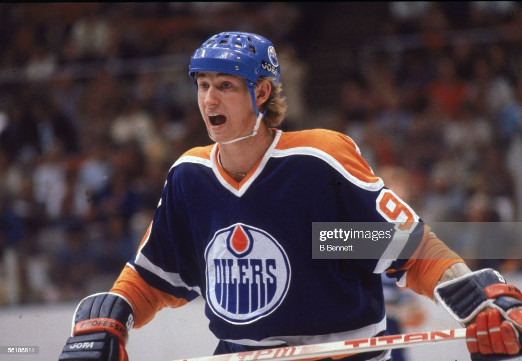 Canadian professional hockey player Wayne Gretzky of the Edmonton Oilers in action on the ice for an away game during his rookie season 197980