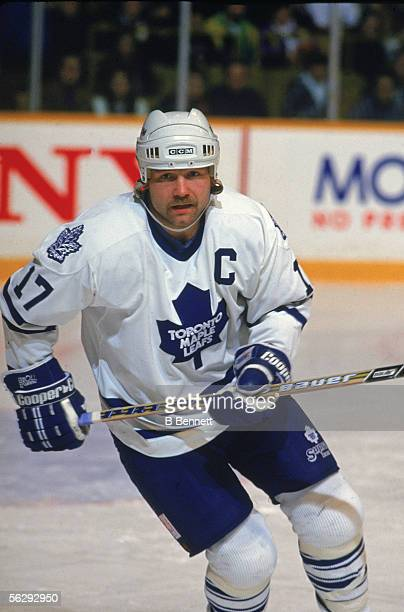 Canadian professional hockey player Wendel Clark left wing for the Toronto Maple Leafs on the ice during a game 1990s