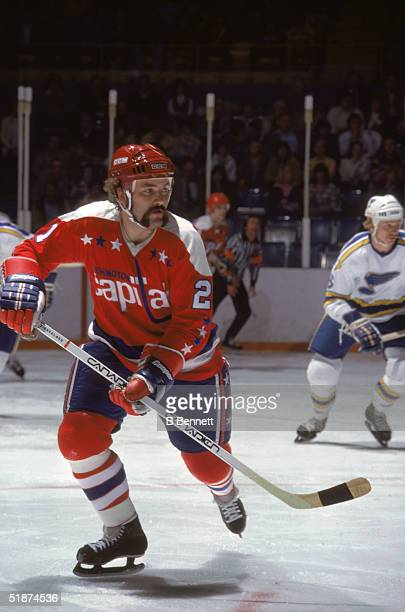 Canadian professional hockey players Dennis Maruk forward for the Washington Capitals and Larry Patey defenseman for the St Louis Blues skate on the...