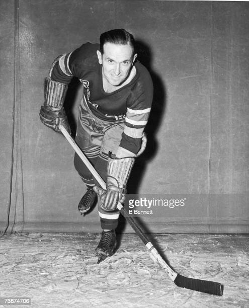 Canadian professional ice hockey player and coach Frank Boucher of the New York Rangers practices on the ice before a game Madison Square Garden New...