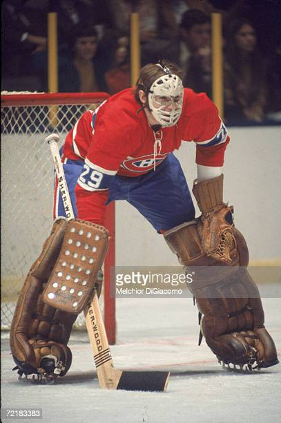 Canadian professional ice hockey player and later businessman lawyer author and politician Ken Dryden goalie of the Montreal Canadiens on the ice...