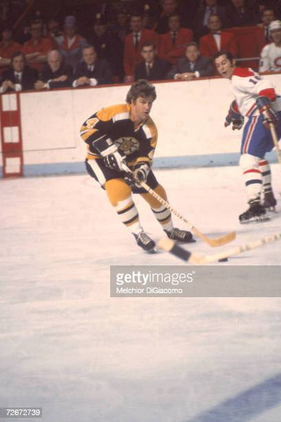 Canadian professional ice hockey player Bobby Orr of the Boston Bruins skates on the ice during an away game against the Montreal Canadiens late...