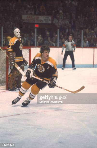 Canadian professional ice hockey player Bobby Orr of the Boston Bruins on the ice during a road game 1960s or 1970s Orr played for Boston from 1966...