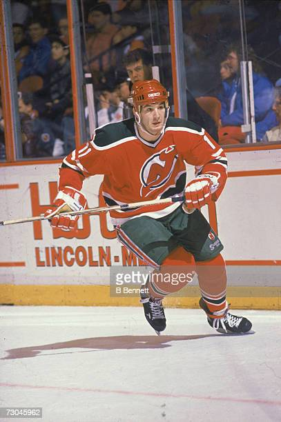 Canadian professional ice hockey player Brendan Shanahan of the New Jersey Devils skates on the ice during a road game late 1980s or early 1990s...