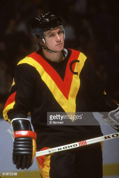 Canadian professional ice hockey player Don Lever forward of the Vancouver Canucks on the ice against the New York Islanders Nassau Coliseum...