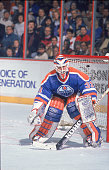 Canadian professional ice hockey player Grant Fuhr of the Edmonton Oilers in goal during a game against the Philadelphia Flyers the Spectrum...