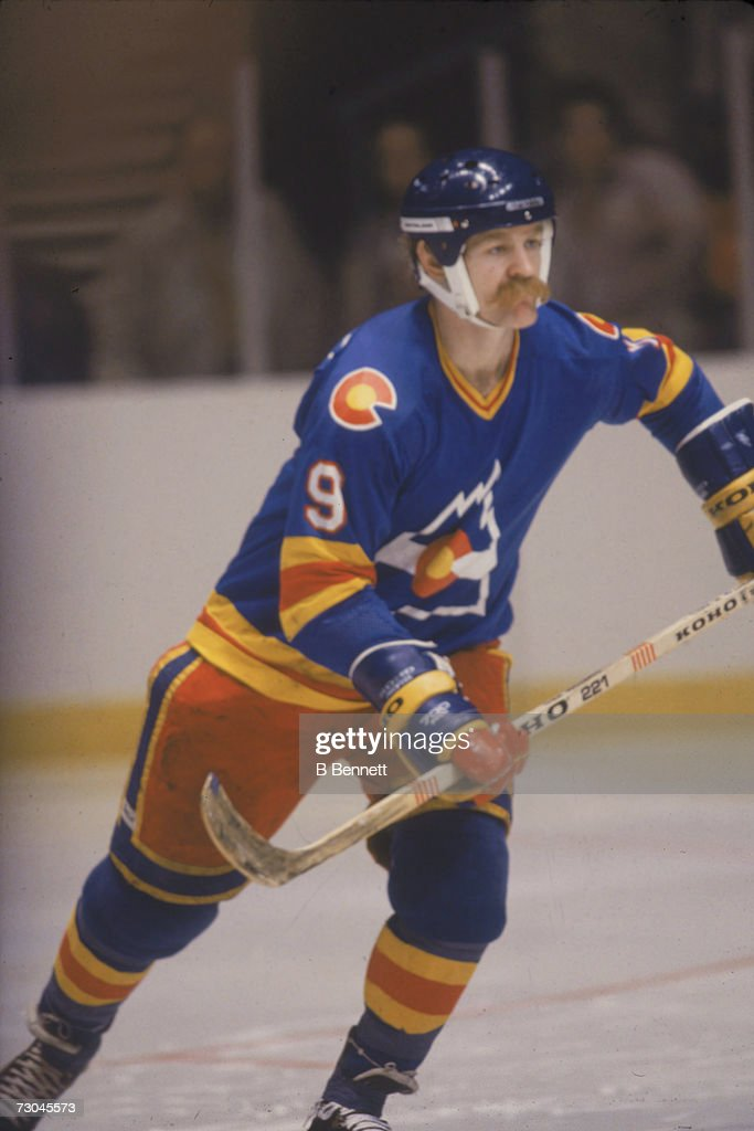 60e269b82 ... Vintage Calgary Canadian professional ice hockey player Lanny McDonald  9 of the Colorado Rockies hockey team skates ...