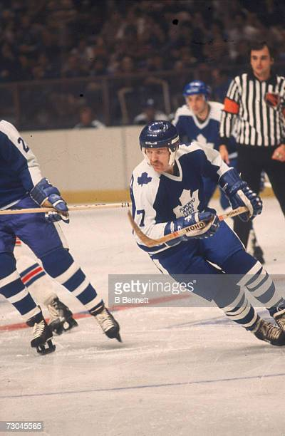 Canadian professional ice hockey player Lanny McDonald of the Toronto Maple Leafs skates on the ice during a road game 1970s McDonald played for...