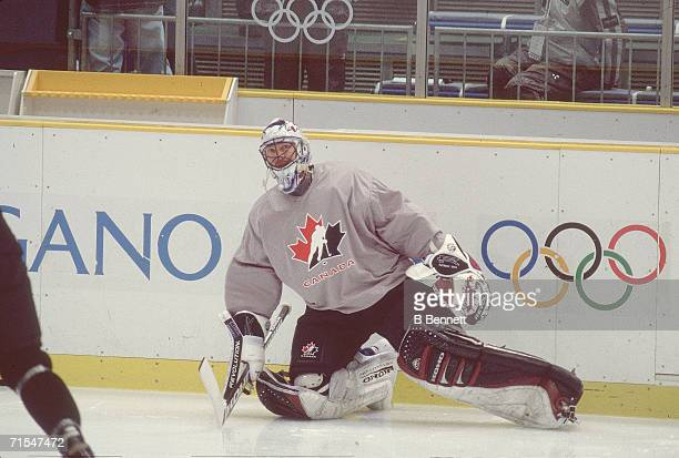 Canadian professional ice hockey player Patrick Roy usually goalie of the Montreal Canadiens or the Colorado Avalanche is seen during a practice as...