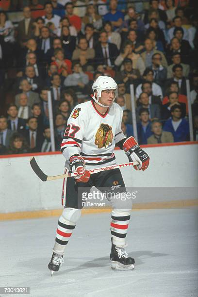 Canadian professional ice hockey player Rick Vaive of the Chicago Blackhawks on the ice during a game Chicago Illinois March 1988 Vaive played for...