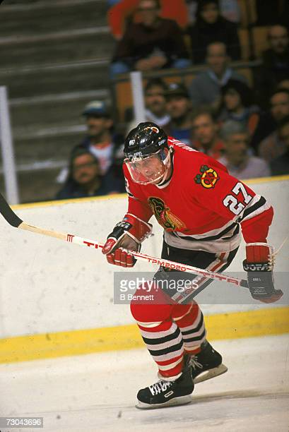 Canadian professional ice hockey player Rick Vaive of the Chicago Blackhawks on the ice during a road game January 1988 Vaive played for Chicago from...