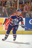 Canadian professional ice hockey player Shayne Corson of the Edmonton Oilers skates on the ice during a road game early 1990s Corson played for the...