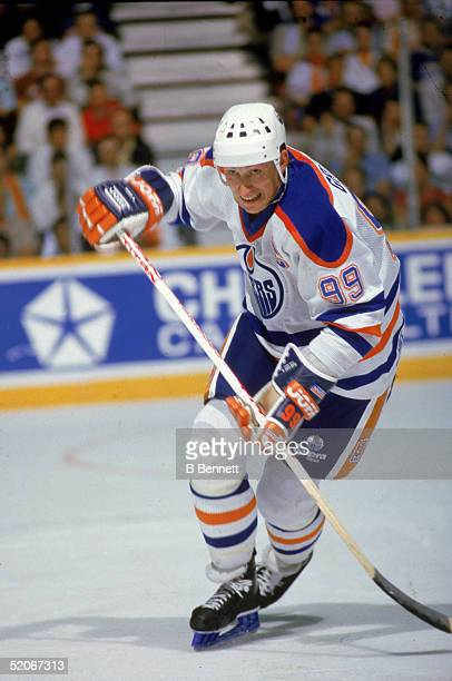 Canadian professional ice hockey player Wayne Gretzky forward of the Edmonton Oilers skates on the ice during a home game at Northlands Coliseum...