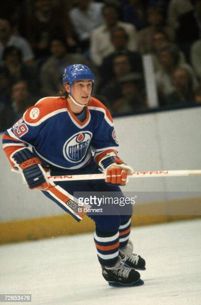 Canadian professional ice hockey player Wayne Gretzky of the Edmonton Oilers skates on the ice during an away game early 1980s Gretzky played for the...