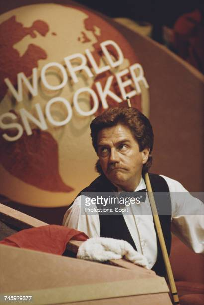 Canadian professional snooker player Cliff Thorburn pictured during play in the 1990 Embassy World Snooker Championship at the Crucible Theatre in...