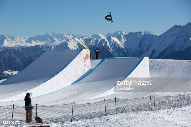 Canadian professional snowboarder Mark McMorris riding the rail section during the 2017 Laax Open Slopestyle final on 20th January 2017 in Laax...