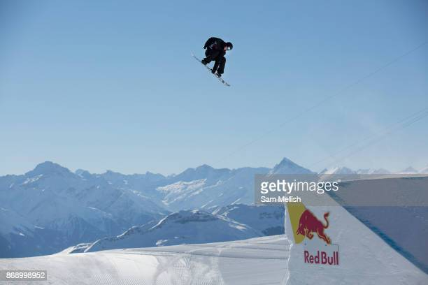 Canadian professional snowboarder Max Parrot riding the rail section during the 2017 Laax Open Slopestyle final on 20th January 2017 in Laax...