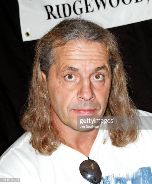 Canadian professional wrestler and actor Bret Hart signs copies of Hitman at Bookends on October 11 2008 in Ridgewood New Jersey