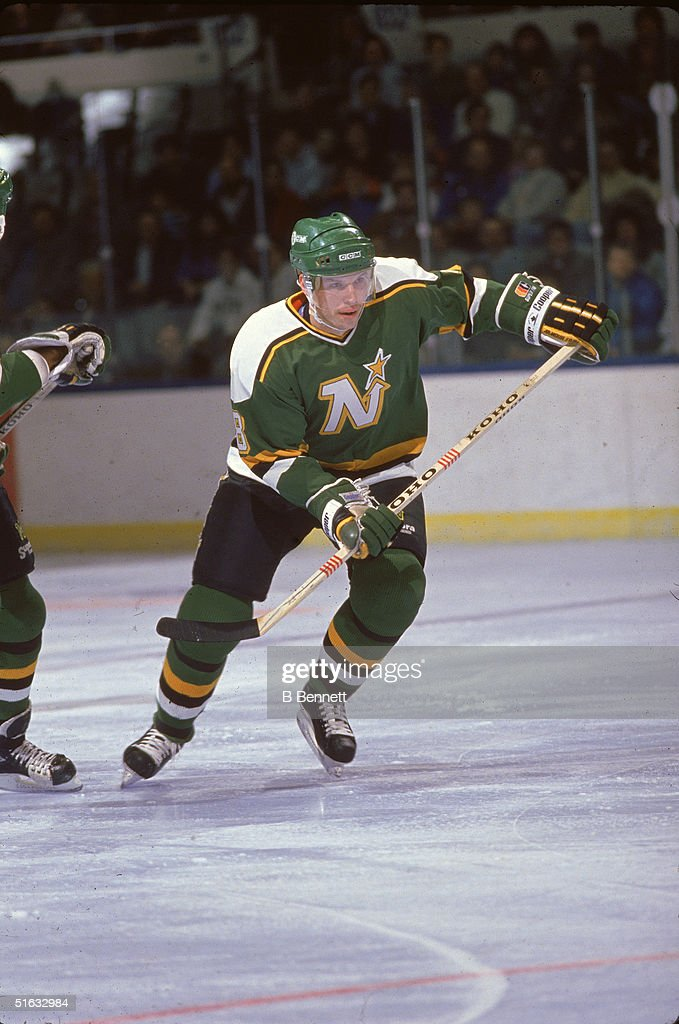 Canadian professsional hockey player and 2004 Hall of Fame inductee defenseman Larry Murphy of the Minnesota North Stars skates on the ice during a...
