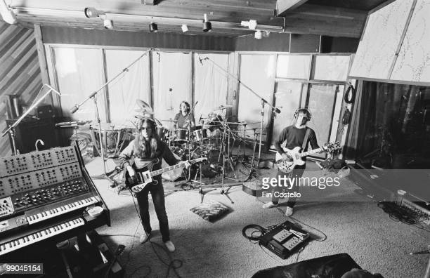 Canadian progressive rock band Rush recording their album 'Permanent Waves' at Le Studio Morin Heights Quebec Canada October 1979 Left to right Geddy...
