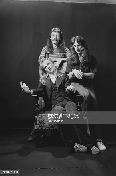 Canadian progressive rock group Rush Bakersfield California USA 26th September 1977 Left to right guitarist Alex Lifeson drummer Neil Peart and...