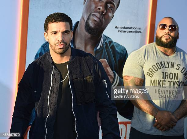 Canadian rapper Aubrey Graham aka 'Drake' arrives for the premiere of the movie 'Get Hard' at the TCL Chinese Theatre in Hollywood California on...