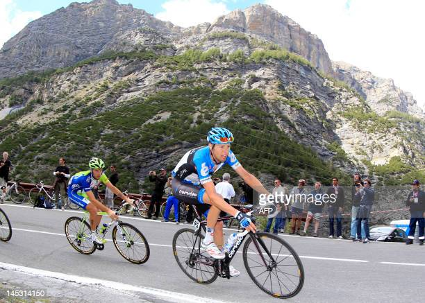 Canadian rider Ryder Hesjedal rides uphill on the 20th stage of the Tour of Italy a 219 km ride from Caldes/Val di Sole to Passo dello Stelvio on May...