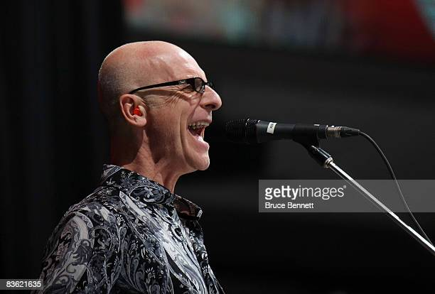 Canadian Rock icon Kim Mitchell entertains the crowd at the Legends Classic Game on November 9 2008 at the Air Canada Centre in Toronto Ontario Canada