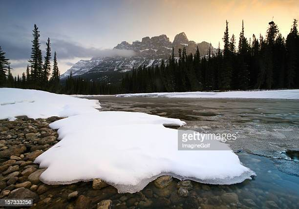 Canadian Rockies Winter Scenic on Bow River