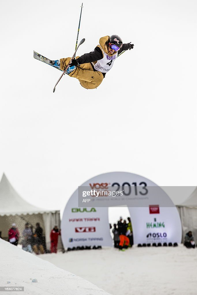 Canadian Rosalind Groenewoud competes during the qualification race for the FIS ladies Freestyle Halfpipe Skiing World Cup in Oslo-Tryvann, Norway on March 4, 2013. The actual competition will take place on March 5, 2013.