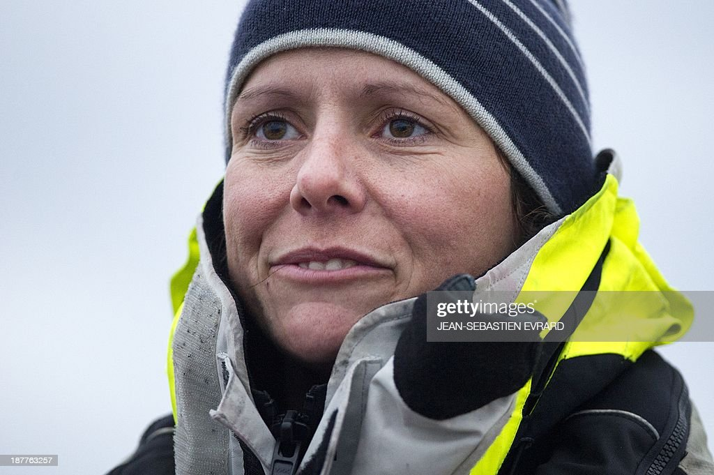 Canadian sailor Mylene Paquette reacts as she arrives at the Lorient harbour, western France, on November 12, 2013. Mylene Paquette, a 35-year-old from Quebec, is the first North American to have crossed the Atlantic Ocean, a 2,700 nautical mile (4,300-km) long journey, on a rowboat in 129 days between Halifax and Lorient. Ten people have so far crossed the Atlantic from west to east on a rowboat, including two French female sailors.