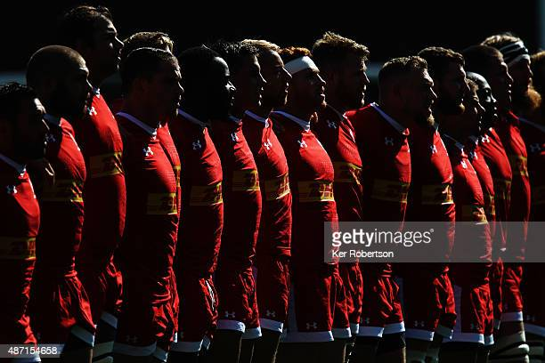 Canadian side sing their national anthem before the preRugby World Cup International Friendly match between Fiji and Canada at Twickenham Stoop on...
