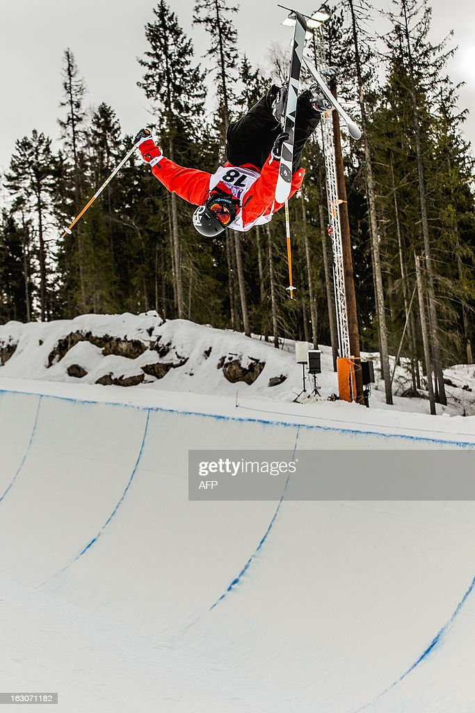 Canadian Simon D'Artois competes during the qualification race for the FIS men Freestyle Halfpipe Skiing World Cup in Oslo-Tryvann, Norway on March 4, 2013. The actual competition will take place on March 5, 2013.