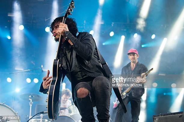 Canadian singer and guitarist Jordan Cook of the Reignwolf band performs on stage on July 4 at the Eurockeennes festival in the eastern French city...