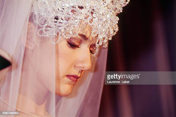 Canadian singer Céline Dion during her wedding ceremony to record producer René Angelil