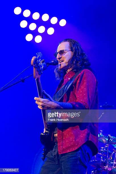 Canadian singer Geddy Lee of Rush performs live during a concert at the O2 World on June 6 2013 in Berlin Germany