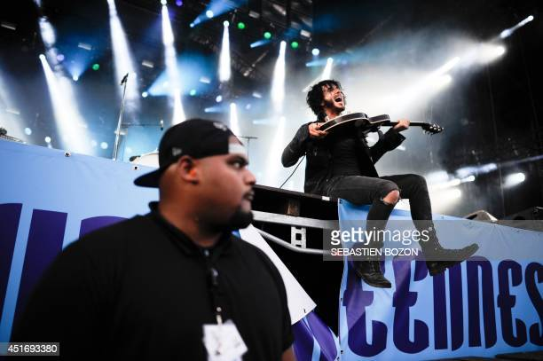 Canadian singer Jordan Cook of the Reignwolf band performs on stage on July 4 at the Eurockeennes festival in the eastern French city of Belfort AFP...