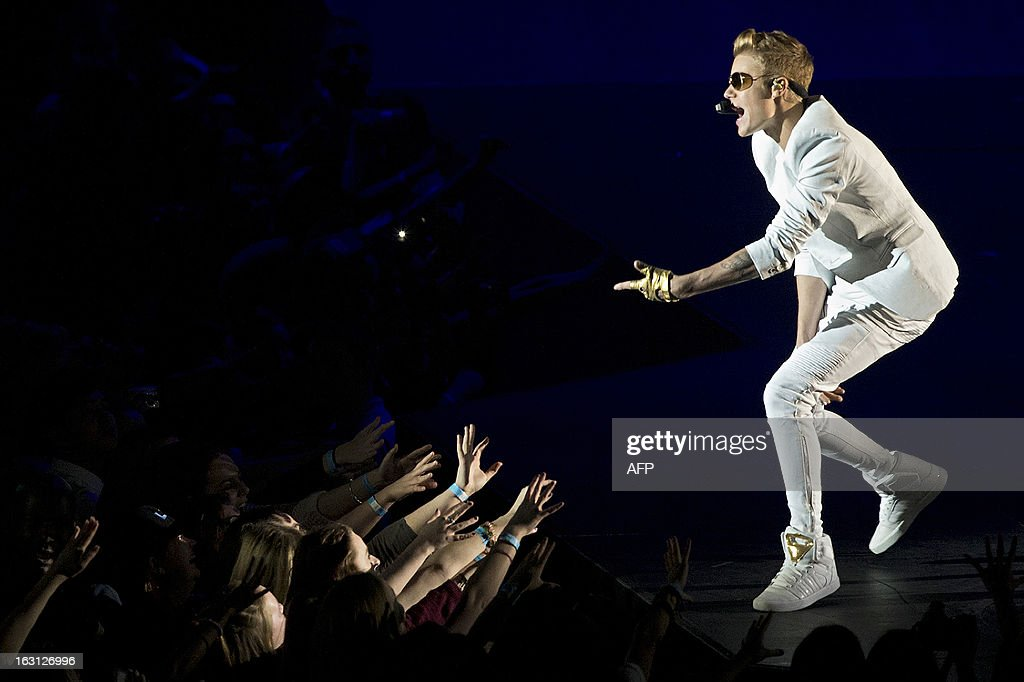 Canadian singer Justin Bieber performs live in concert at the O2 in London, on March 4, 2013. Teen superstar Justin Bieber is facing fury from his British fans after he showed up nearly two hours late for a concert in London. The Canadian singer played the first of four sold-out nights at London's O2 Arena on Monday, but hundreds in the audience took to Twitter to vent their frustration after he failed to appear on stage until nearly 10:30 pm.