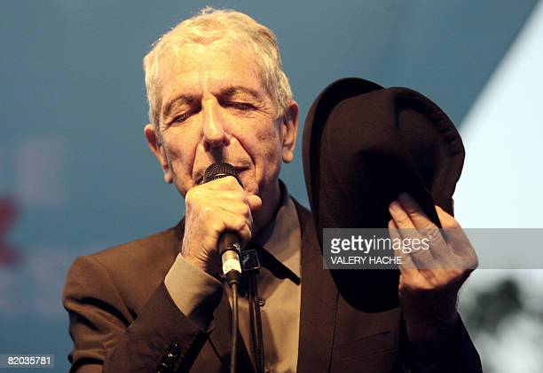 Canadian singer Leonard Cohen performs during the Nice Jazz Festival on July 22 2008 in Nice southern France AFP PHOTO VALERY HACHE