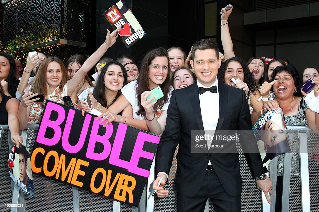 Canadian singer <a gi-track='captionPersonalityLinkClicked' href=/galleries/search?phrase=Michael+Buble&family=editorial&specificpeople=215140 ng-click='$event.stopPropagation()'>Michael Buble</a> arrives at the 2013 Logie Awards at the Crown Palladium on April 7, 2013 in Melbourne, Australia.