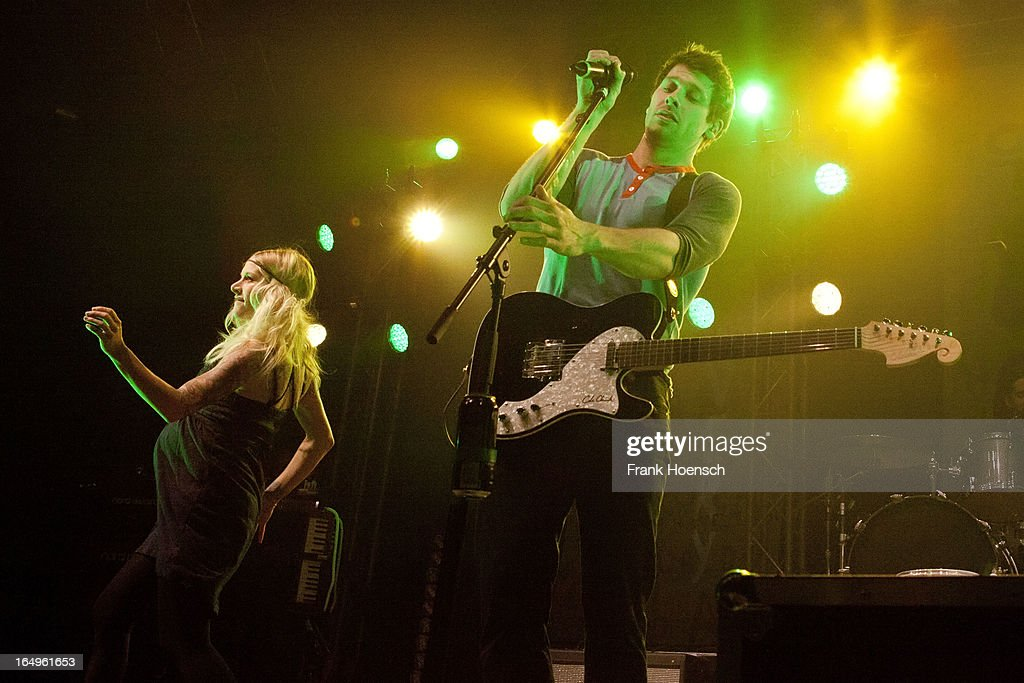 Canadian singer Sarah Blackwood and Ryan Marshall (L-R) of Walk Off The Earth performs live during a concert at the Huxleys on March 29, 2013 in Berlin, Germany.
