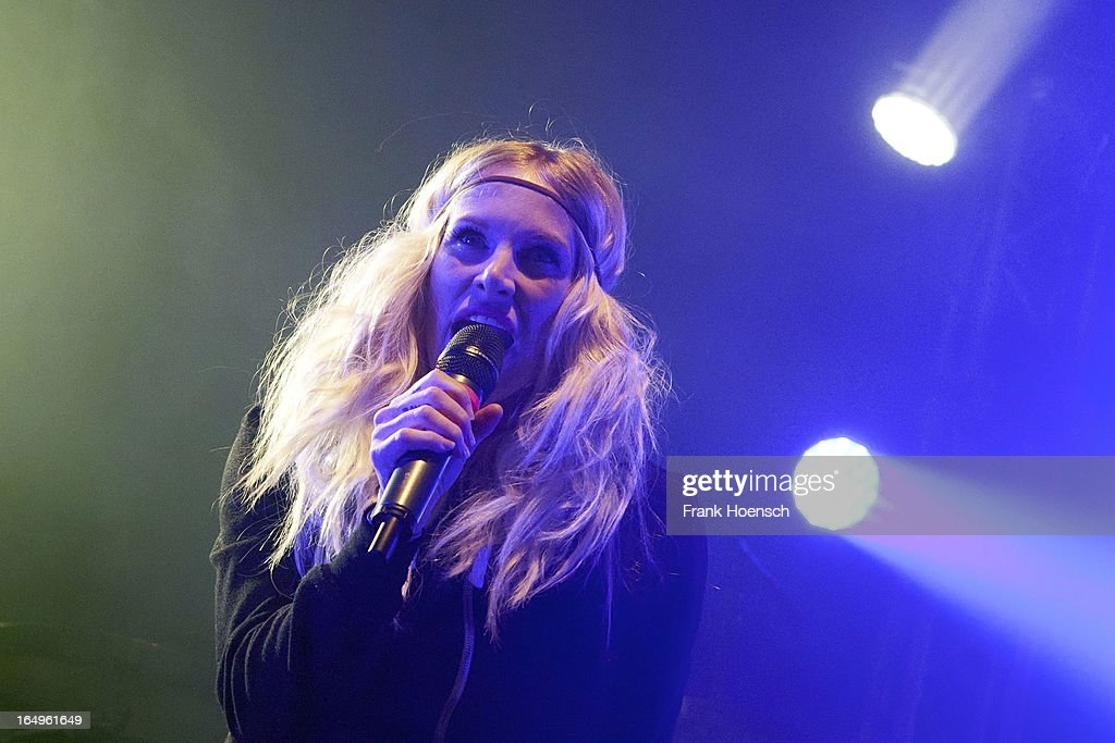 Canadian singer Sarah Blackwood of Walk Off The Earth performs live during a concert at the Huxleys on March 29, 2013 in Berlin, Germany.