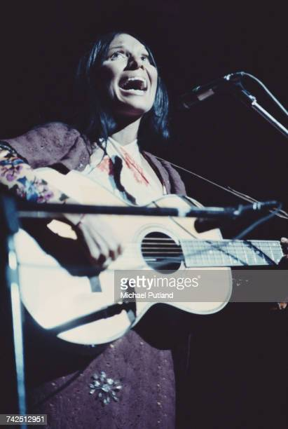 Canadian singer songwriter and musician Buffy SainteMarie performs live on stage playing an acoustic guitar in concert 15th October 1971