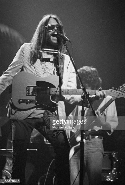 Canadian singersongwriter Neil Young performing with The Santa Monica Flyers at the Rainbow Theatre London 5th November 1973