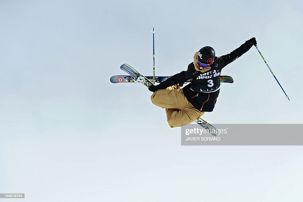 Canadian skier Rosalind Groenewoud competes in the Ladies' Half Pipe race at the Snowboard and FreeStyle World Cup Super finals at Sierra Nevada ski resort near Granada on March 25, 2013. Canadian skier Rosalind Groenewoud won the race ahead of Swiss skier Virginie Faivre and Japanese skier Ayana Onozuka.
