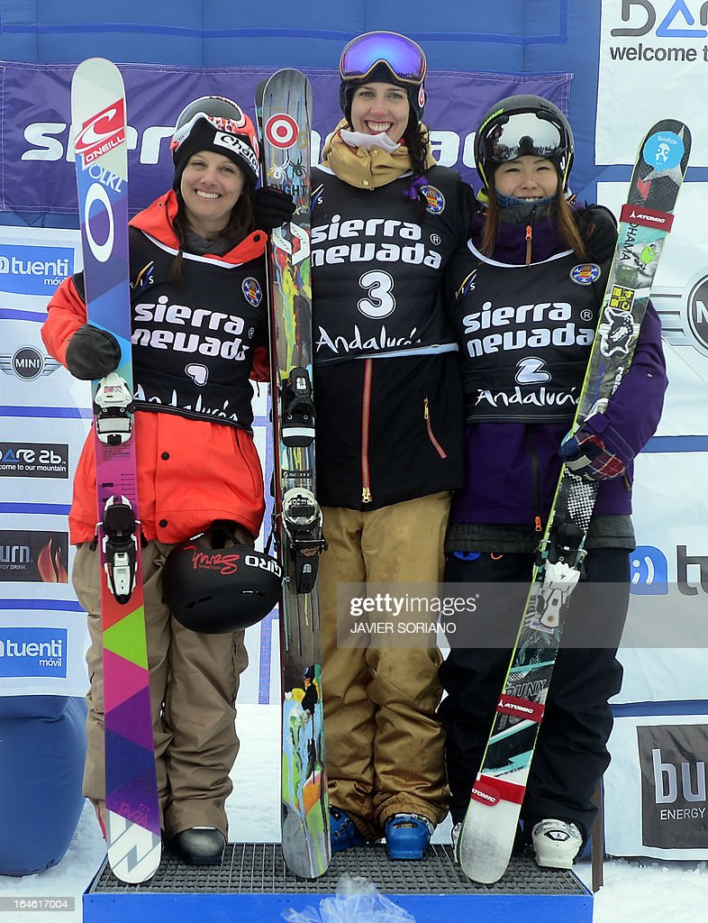 Canadian skier Rosalind Groenewoud (C), Swiss skier Virginie Faivre (L) and Japanese skier Ayana Onozuka pose on podium of the Ladies' Half Pipe race at the Snowboard and FreeStyle World Cup Super finals at Sierra Nevada ski resort near Granada on March 25, 2013. Canadian skier Rosalind Groenewoud won the race ahead of Swiss skier Virginie Faivre and Japanese skier Ayana Onozuka.