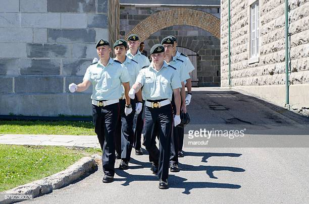 Canadian Soldiers marching in front of their barracks