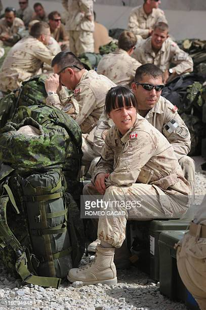 Canadian soldiers prepare to leave Kandahar military base in southern Afghanistan on July 17 2011 as Canada ends its combat mission in Afghanistan...