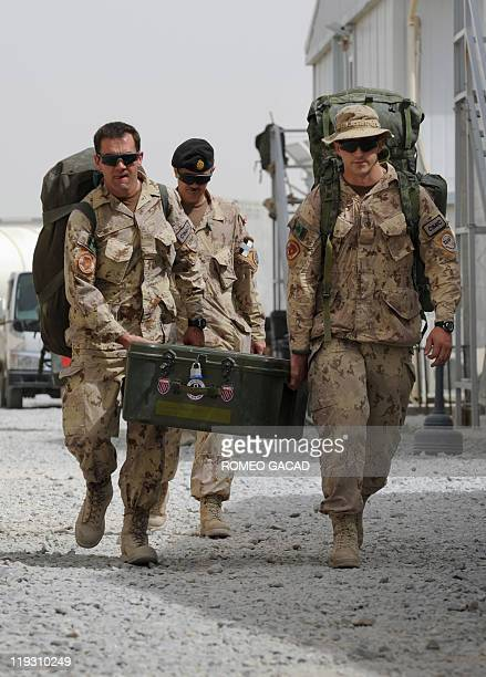 Canadian soldiers prepare to leave Kandahar military base in southern Afghanistan on July 17 2011 as Canada ends its combat mission in the country...